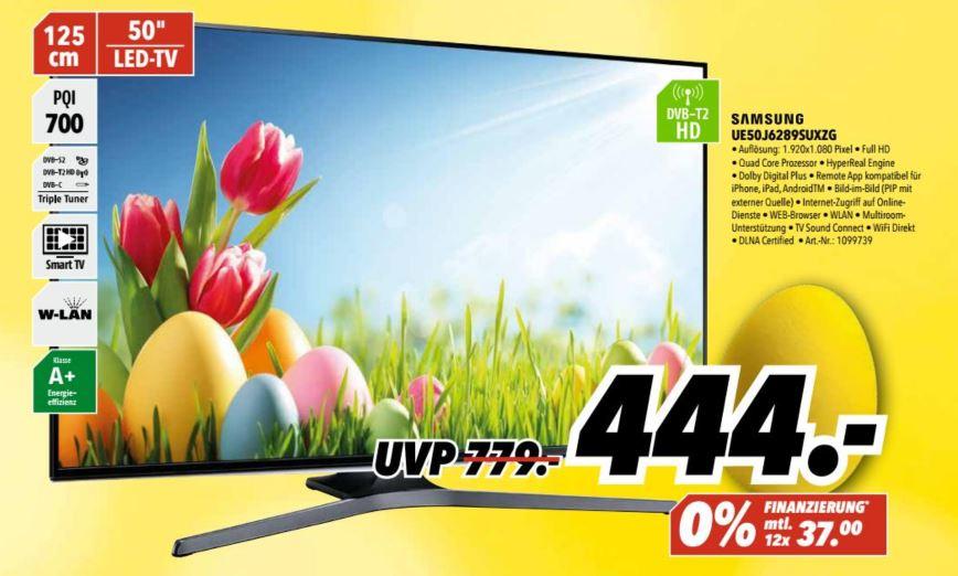 Samsung UE50J6289 (50'' FHD Edge-lit Dimming, 700Hz [100Hz nativ], Triple Tuner, 4x HDMI, 3x USB, LAN + Wlan mit Smart TV, CI+, VESA, EEK A+) für 444€ [MediMax]