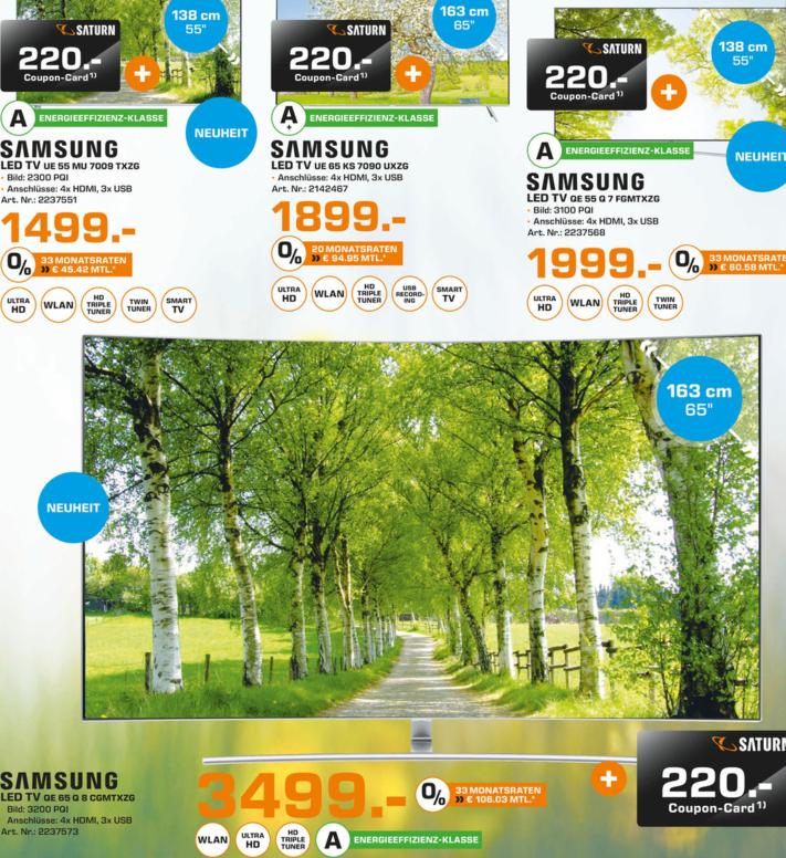Neue Samsung QLED-TV Oberklasse zum mega Start-Preis (lokal Paderborn Saturn) QE55 Q7F 1999€ + 220€ Coupon   QE65 Q8C 3499€ + 220€ Coupon