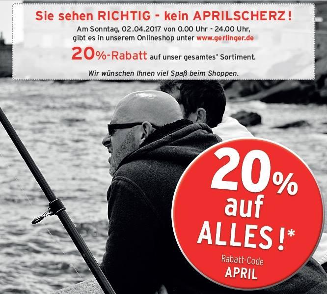 [Angelsport Gerlinger] 20% Rabatt auf alle Bestellungen – nur am 2. April