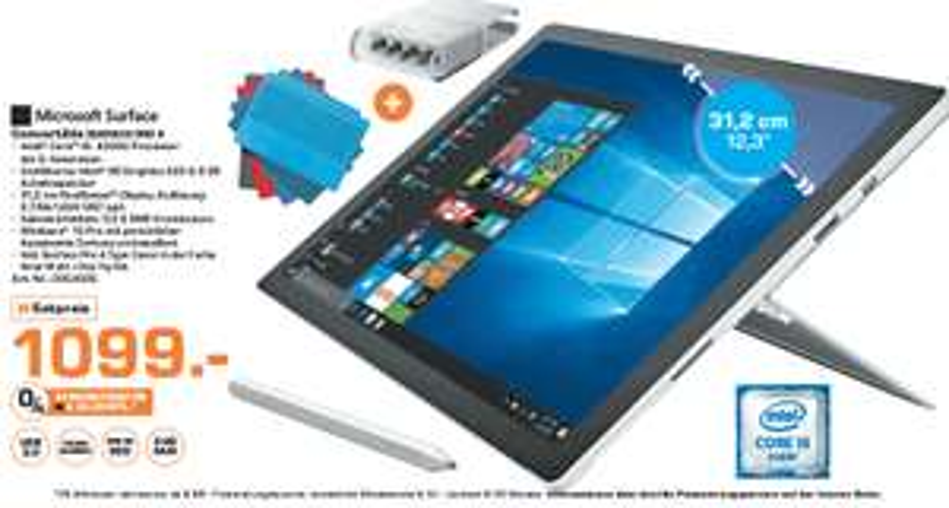 """[Saturn Frankfurt / Offenbach / Neu-Isenburg ] Microsoft Surface Pro 4 Tablet (12,3"""" / Intel Core i5-6300U / 8GB RAM / 256GB SSD / Windows 10 Pro) + Tatstur + Pen Tip Kit für 1.099€"""