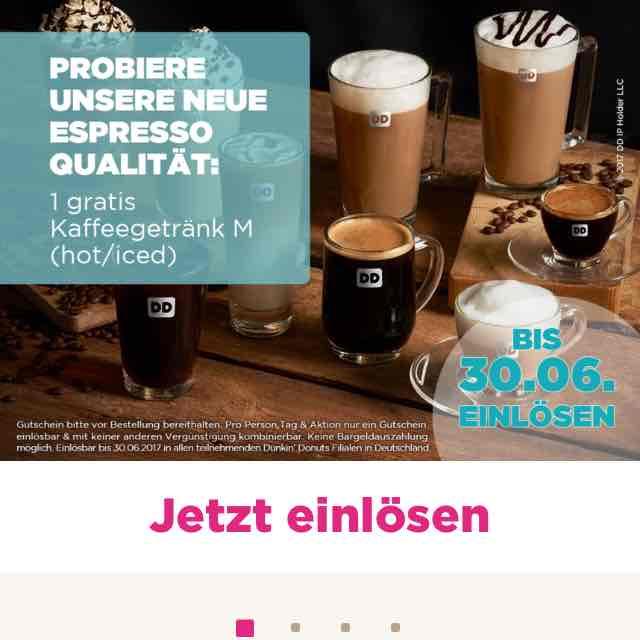 4x kostenloser Espresso in allen teilnehmenden Dunkin Donuts Filialen