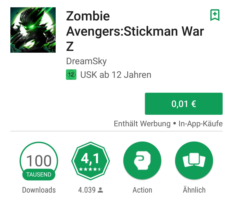 Zombie Avengers:Stickman War Z für 0.01€ (Google Play)