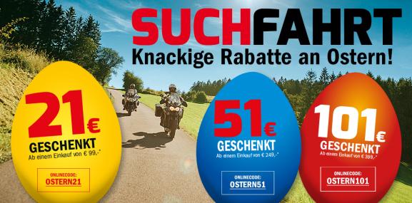 Hein Gericke Oster Gutscheine bis 101€ Rabatt bis zum 23.04.2017 - Motorradkleidung, Zubehör uvm