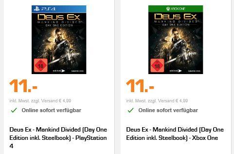 [Saturn Online Offers] Deus Ex - Mankind Divided (Day One Edition inkl. Steelbook) - Xbox One und PS4 für je 11,-€ Versandkostenfrei