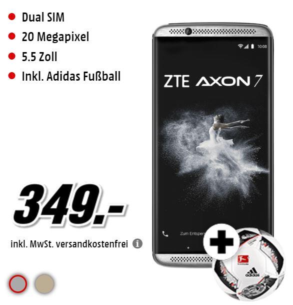 "ZTE Axon 7  (5,5"", 64GB, Dual-Sim, Dolby-Atmos, 20MP, Google-Daydream ready) in Gold oder Grau + Fußball [Mediamarkt]"