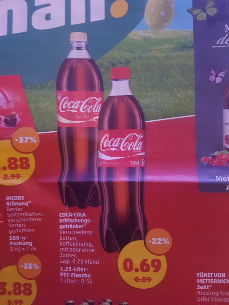 Coca Cola 1,25 L für 0,69€ exkl. Pfand, ab Montag 3.4 im Penny