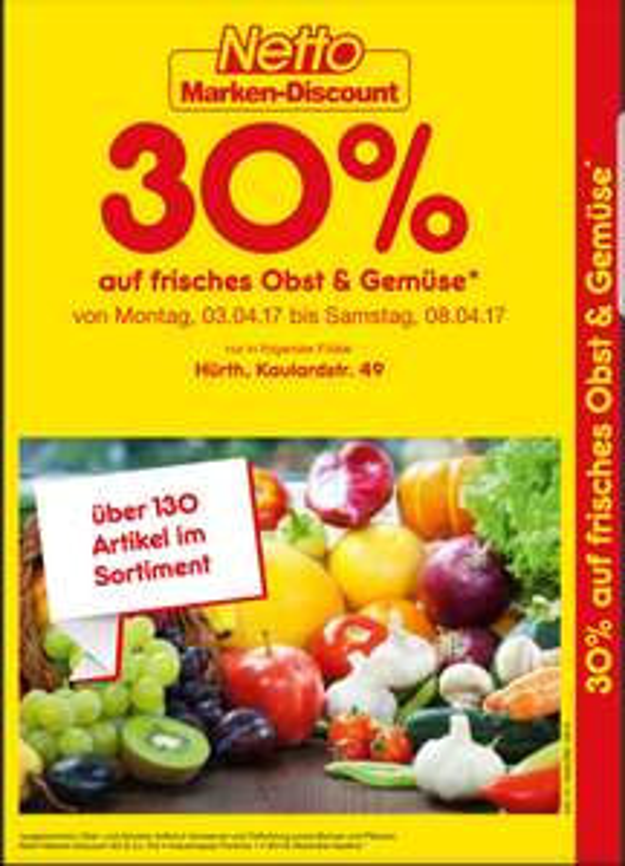 30% auf Obst und Gemüse bei Netto in der Filiale Hürth, Kaulardstr. 49