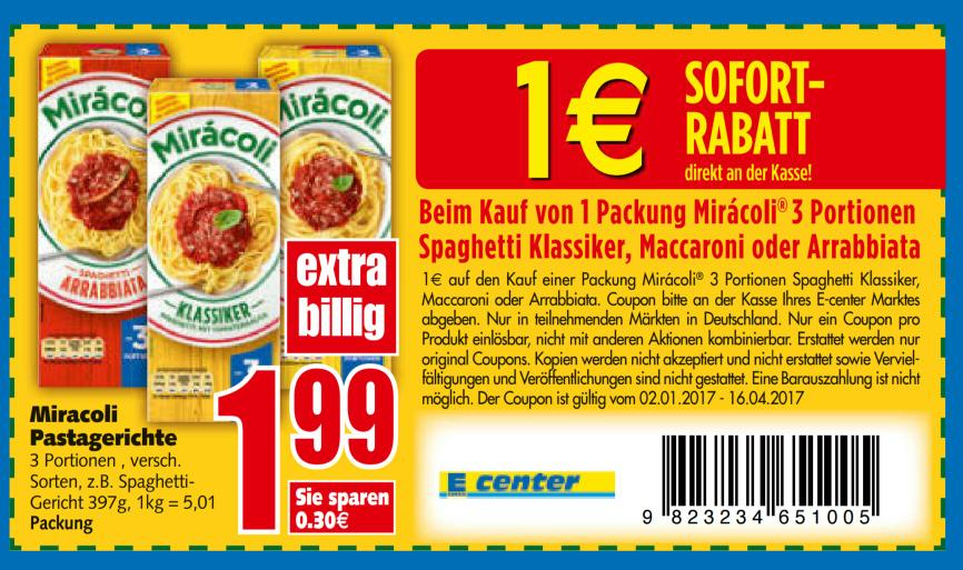 [E-Center] Miracoli 0,99 € dank Sofortgutschein (sonst 1,99 €)