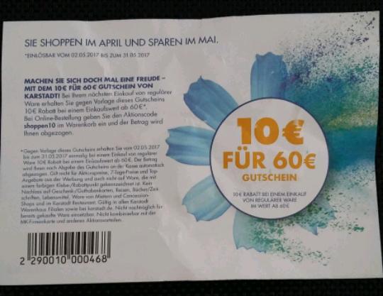 10 € Gutschein Karstadt on- und offline