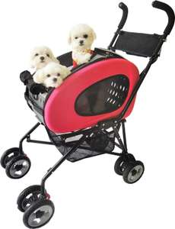 Haustier-Buggy, ips-020/rot, Hunde-Tragetasche, Trolley, Zusammenklappbar , Kinderwagen für Hunde und Katzen.I//  Idealo 189€