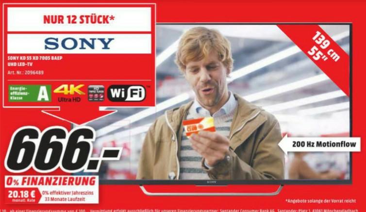 """[MM Bad Kreuznach] Sony 55XD7005 55"""" Android TV mit 4K HDR für 666€ nur heute 02.04."""