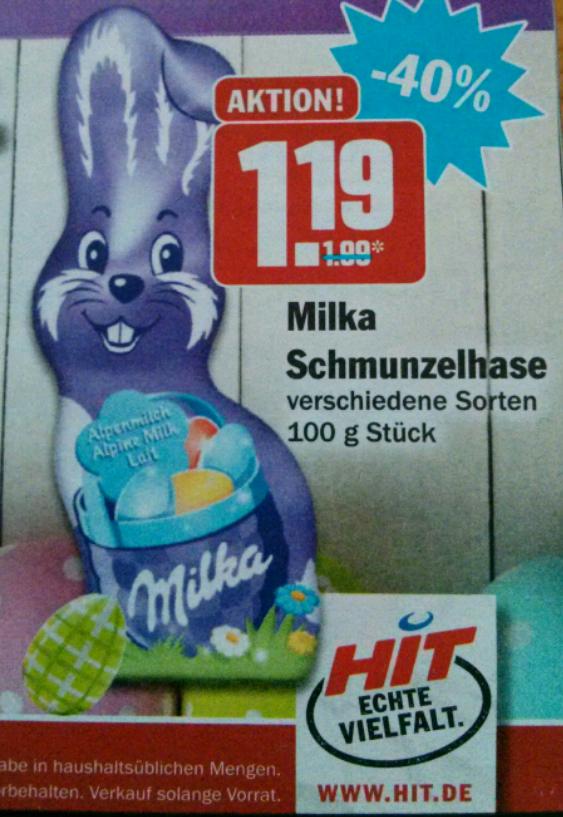 Hit Milka Schmunzelhase 100g für € 1.19