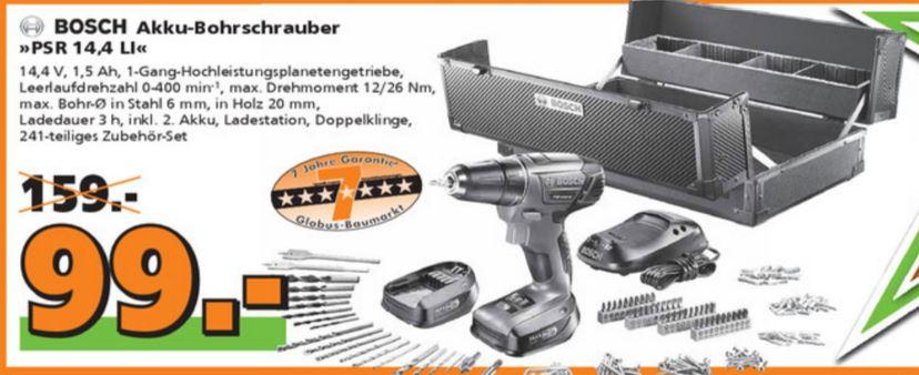 [Globus Baumarkt] Bosch Akku-Bohrschrauber PSR 14,4 LI inkl. 2. Akku, Koffer & Zubehör
