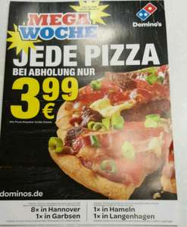 [Lokal: Hannover & Hameln] Domino's Klassik Pizzen in der Größe Classic (25cm) 3.99€ bei Selbstabholung