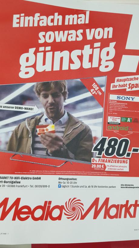 Sony KDL43W807 mit echten 100 HZ für nur 480,- im Media Markt Frankfurt Borsigallee