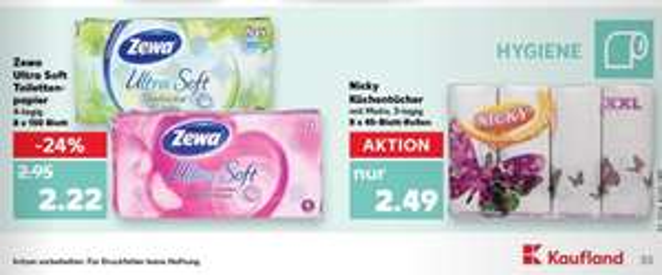 (Lokal-Freising) Kaufland Zewa Ultra Soft 8 Rollen x 150 Blatt / - 0,50 € (couponplatz.de) = 1,72 €