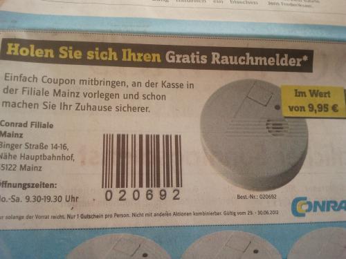 [Lokal] Conrad Mainz Gratis Rauchmelder (evtl. 1,55€, s. Beschreibung)