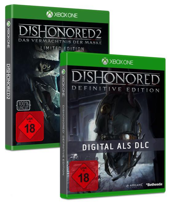 Dishonored 2: Das Vermächtnis der Maske Limited Edition (inkl. Dishonored Definitive Edition) (Xbox One & PS4) für 29,99€ (Gamestop)