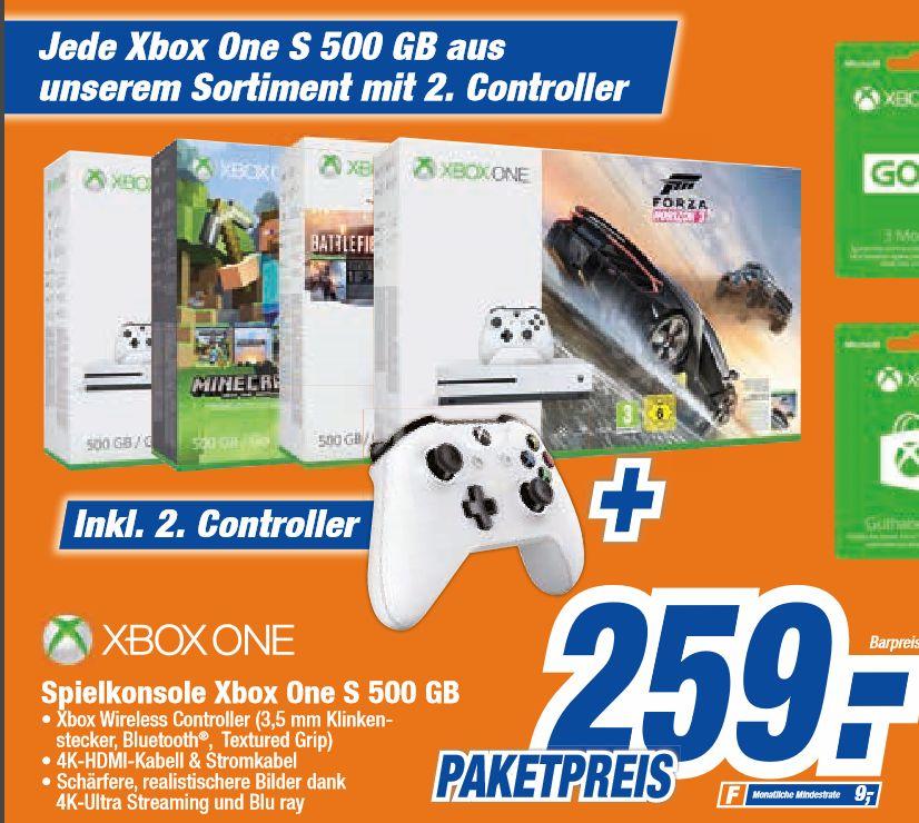 [Offline alle 8 HEM Expert Filialen und den 16 Expert Technikmarkt Filialen] Jede Xbox One S 500 GB Konsole inc. Bundles + 2.Controller für je 259,-€+++Zusätzlich Geschenkkartenaktion 50,-€ für 40,-€(Nur HEM)