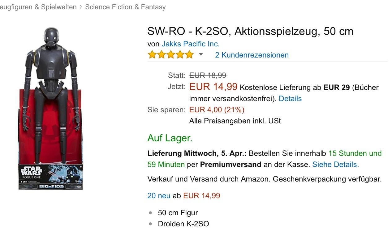 Star Wars - Jakks Grossfigur 50cm - 14,99€ - K-2SO - Amazon