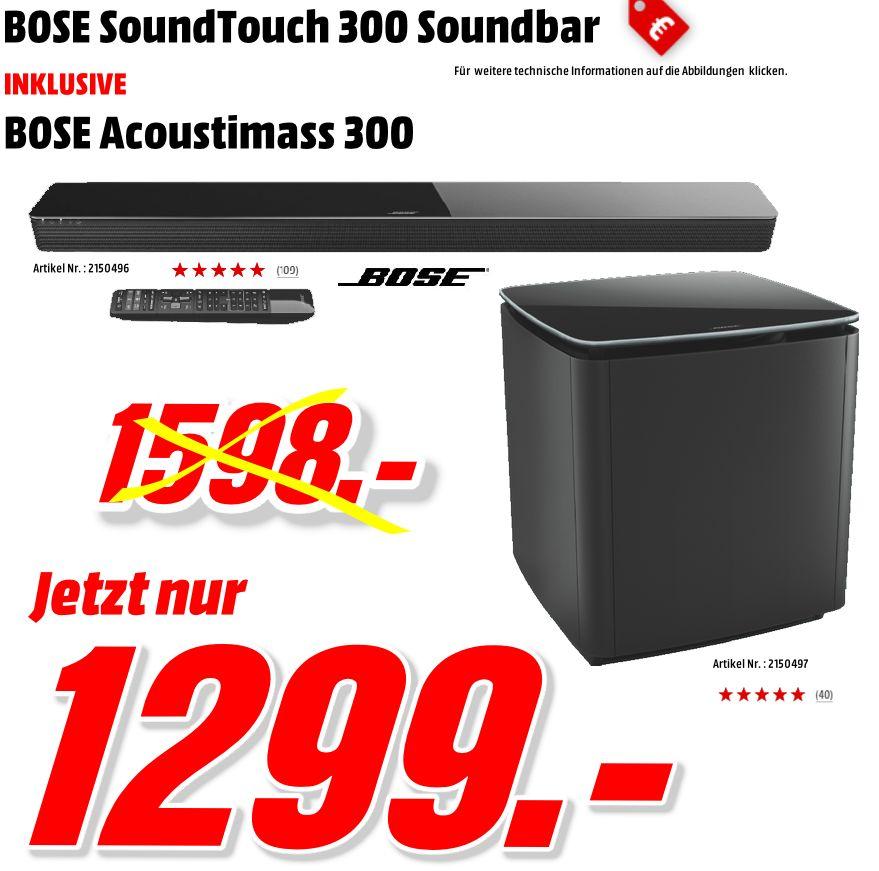 [Mediamakt Porta Westfalica-Bundwesweit] Bose Bundle / BOSE Acoustimas 300, Bass Modul, Schwarz, Subwoofer + BOSE SoundTouch300, Soundbar, Schwarz für zusammen 1299,-€ inc. Kostenlosen Bundwesweiten Versand