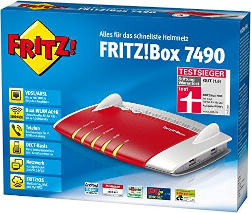 AVM FRITZ!Box 7490 WLAN AC + N Router (VDSL/ADSL, 1.300 Mbit/s (5 GHz), 450 Mbit/s (2,4 GHz), DECT-Basis, Media Server [amazon.de]