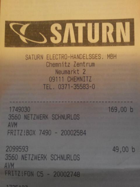 (lokal Saturn Chemnitz)Fritzbox 7490 für 169€ und Fritz Fon C5 für 49€