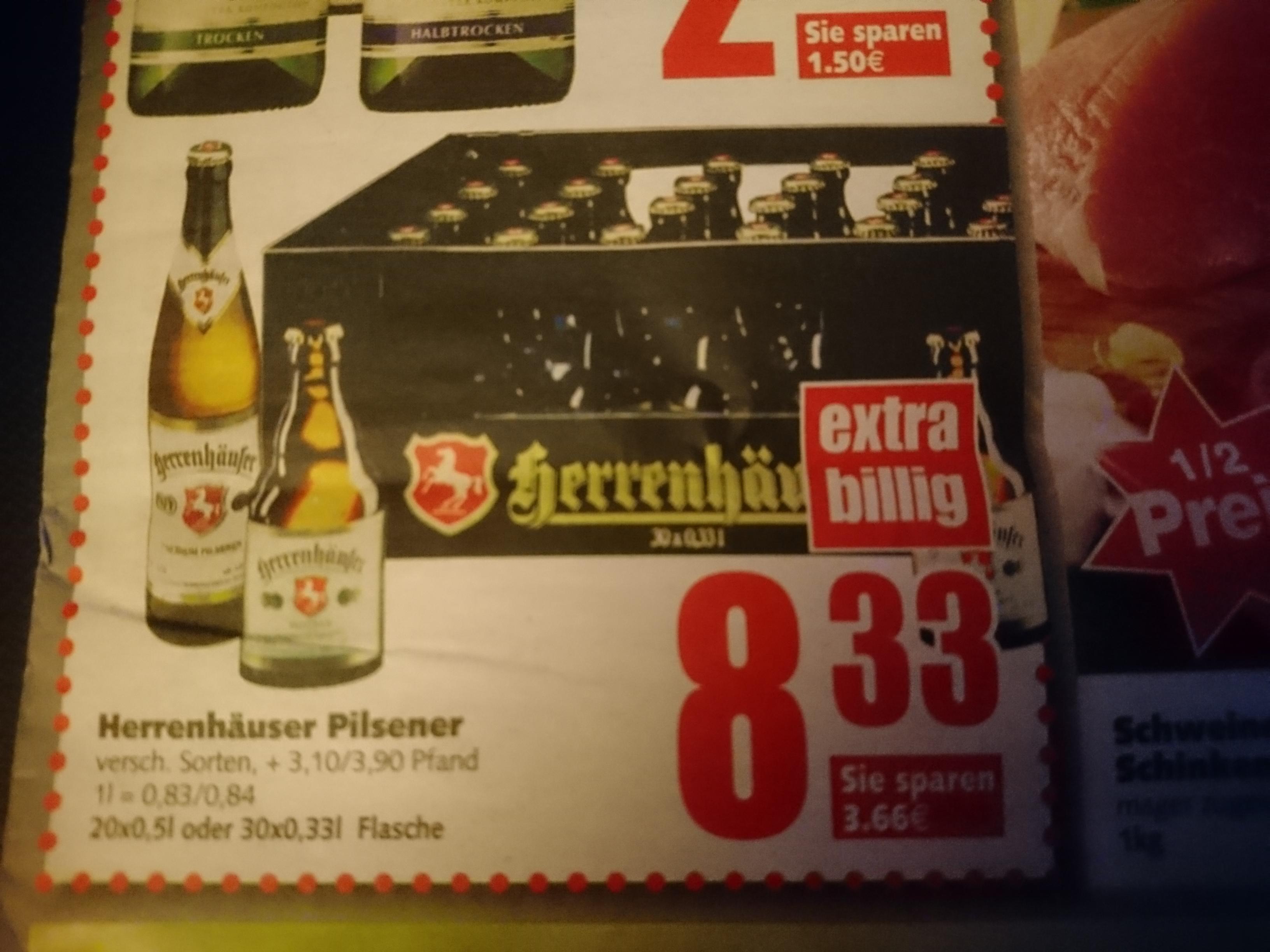 [Lokal E-Center Garbsen bei Hannover] Herrenhäuser Pilsener 30x0,33l Flasche bzw. 20x0,5l Flasche