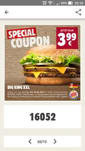 Burger King App: Original Big King XXL für 3,99€