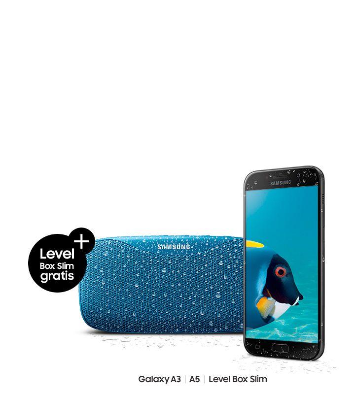 """Samsung Galaxy A3 oder A5 (2017) + gratis Level Box Slim-Lautsprecher, """"Eins kaufen, zwei angeln"""""""