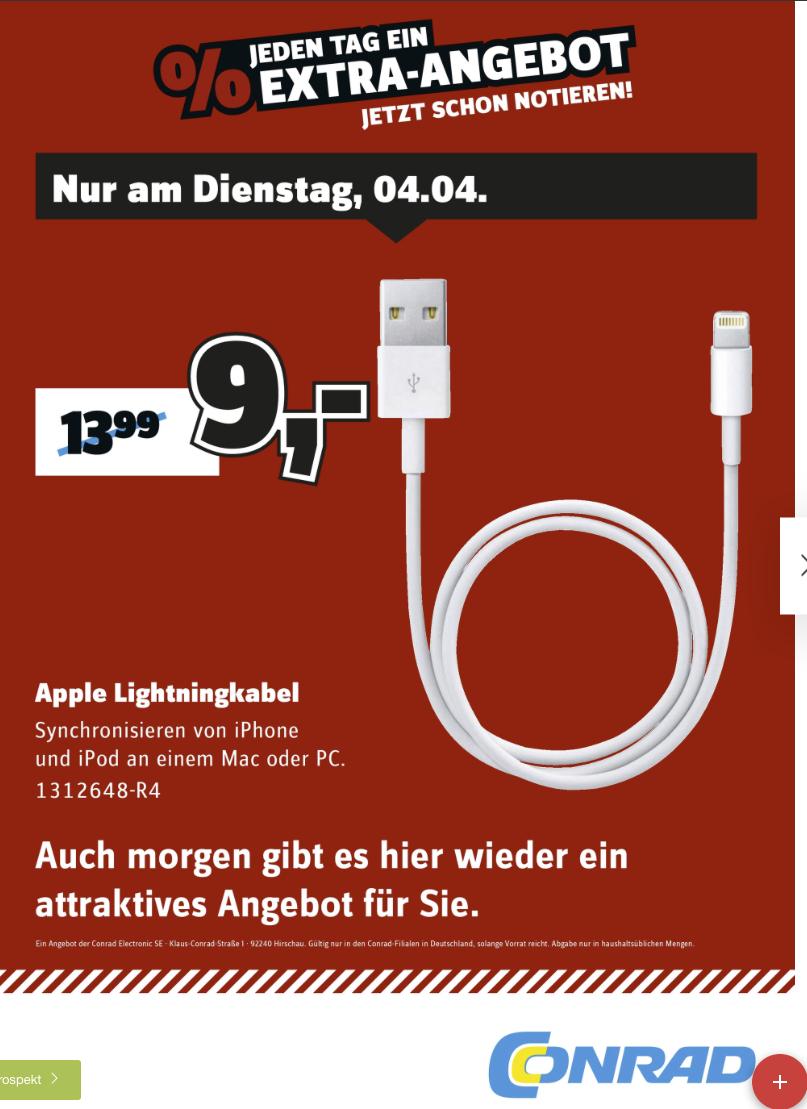 [LOKAL STUTTGART] Original Apple Lightning Kabel nur HEUTE bei Conrad