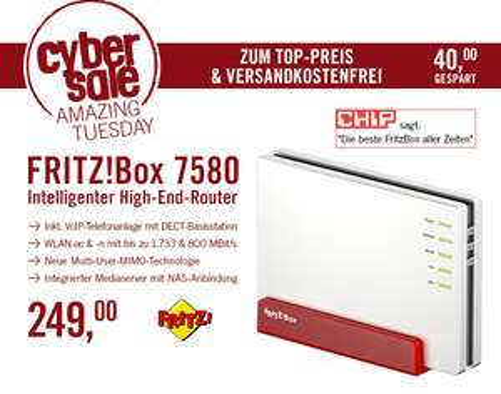 AVM FRITZ!Box 7580 für 249€ @ Cyberport - WLAN-ac/n Router mit Multi-User MIMO Wave 2