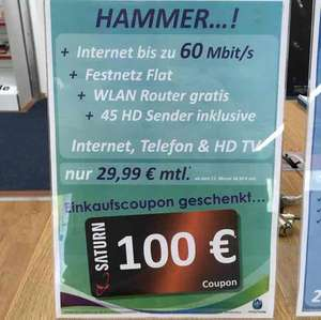Saturn Lüdenscheid Unitymedia 3play START 60 plus 100€