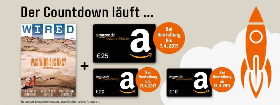 WIRED Jahresabo inkl. 25€ Amazon Gutschein