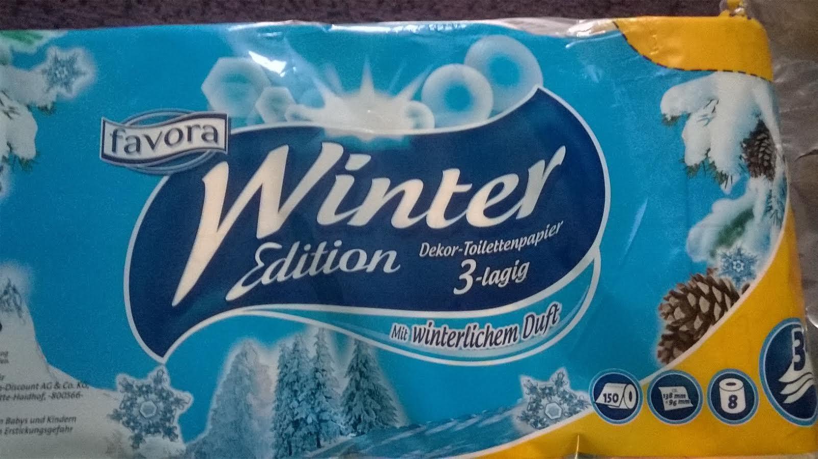 """Abverkauf NETTO MD: Favora """"Winteredition"""" Toiletten Papier 3lg. 8x150Bl."""