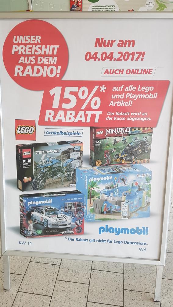 Real Playmobil lokal und online 15% Rabatt