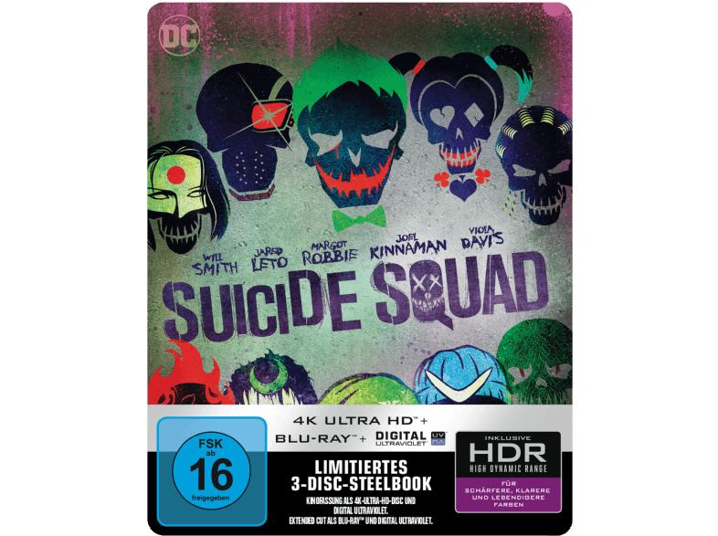 Suicide Squad (Kinofassung & Extended Cut) (3 Discs) Steelbook [4K Ultra HD Blu-ray + Blu-ray] für 23€ (Media Markt)