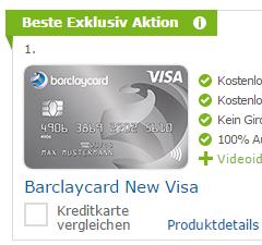 Barclaycard New Visa mit 50 € Startguthaben