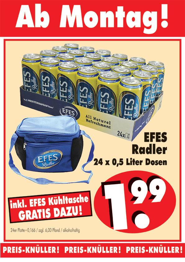 [RB Becker] Efes Alster (Bier mit Brause) 24*0.5 für 1.99€ + Kühltasche
