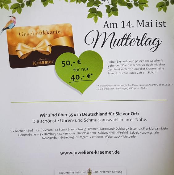 [Juwelier Kraemer] 50,- Geschenkkarte für 40,- | 20% (ab dem 14.05.2017)