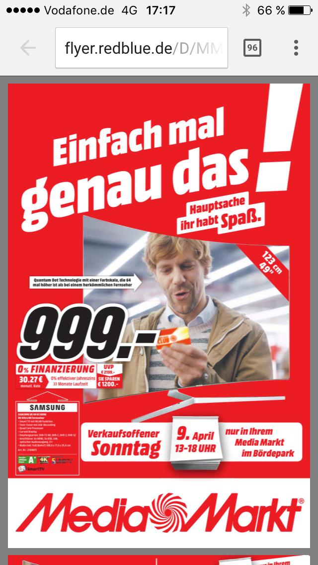 (Lokal) SAMSUNG UE49KS9090 Curved SUHD 49 Quantum Dots [MediaMarkt Magdeburg/Bördepark] nur am 9.4.2017 Verkaufsoffener Sonntag