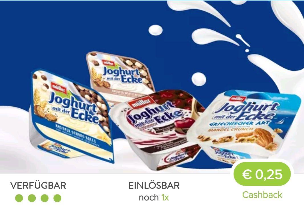 ( Marktguru ) 0,25€ Cashback auf ein Müller Joghurt mit der Ecke eurer Wahl