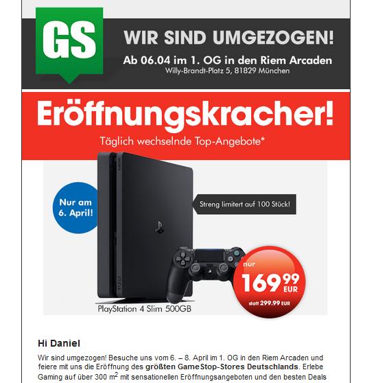 [Lokal] Playstation 4 Slim (500 GB) für 170 € im Gamestop München Riem am 6.4.