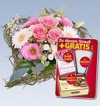 Blumenstrauß + Glasvase (Höhe ca. 16 cm) + Belgische Pralinen (350 g) + Grußkarte