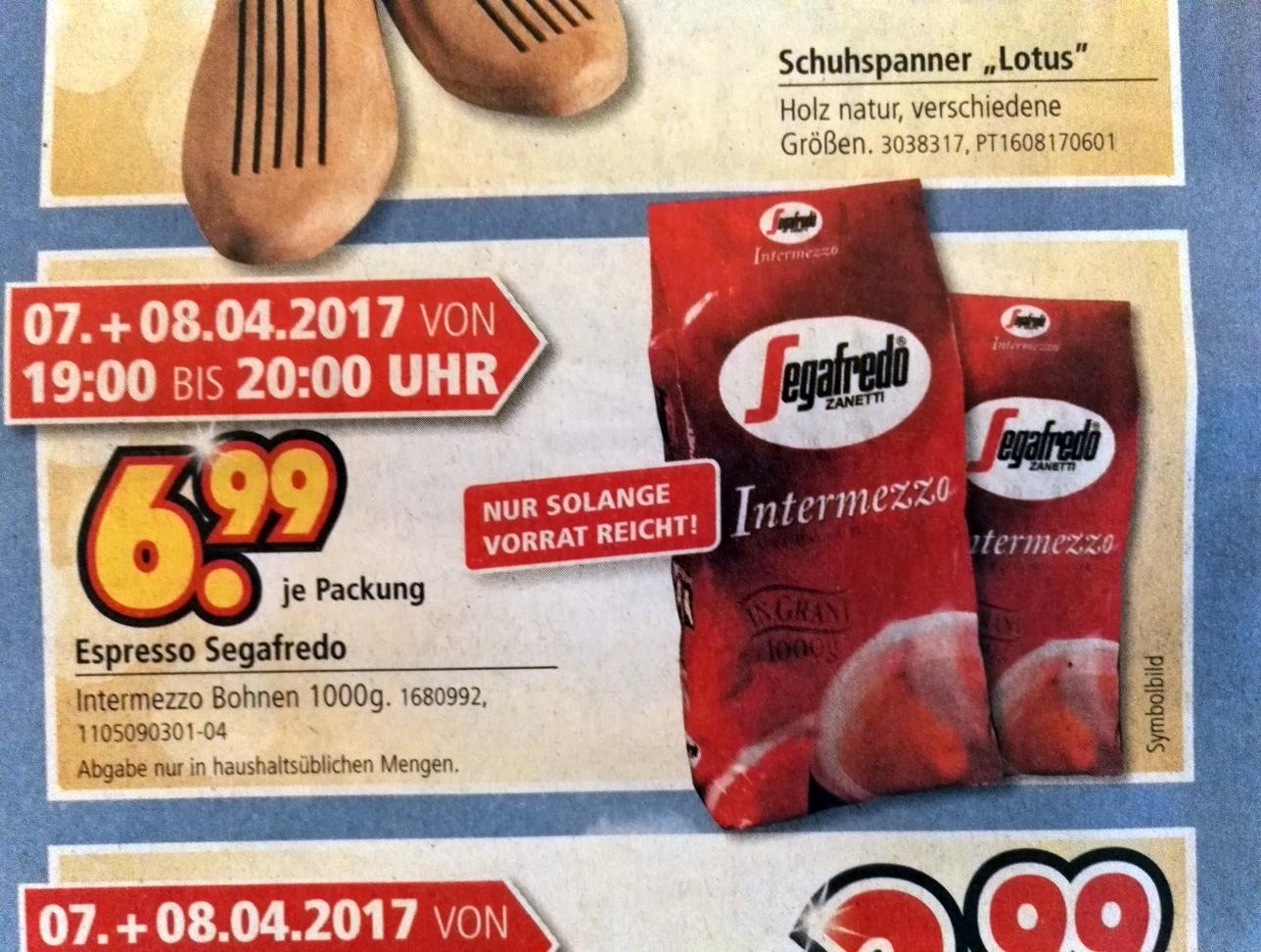 [lokal Möbel Segmüller Pulheim / Köln] 1 KG Segafredo Intermezzo für 6,99 nur am 07. + 08.04. von 19h bis 20h