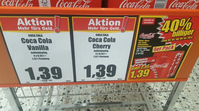 [NORMA]  Coca Cola Dosen - Standard - Cherry - Vanille 1,39 € zzgl. 1,00 € Pfand