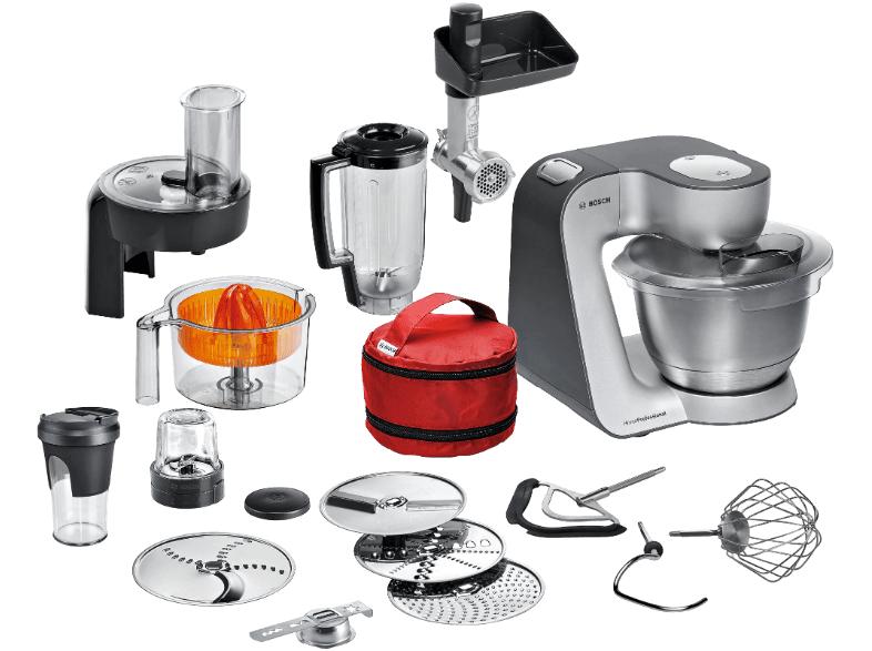 BOSCH MUM59S81DE Home Professional Küchenmaschine Schwarz/Silber, 1000 Watt, sehr viel Zubehör für 399 € bei Mediamarkt