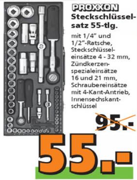 """[Globus Baumarkt on + offline] Proxxon Steckschlüsselsatz 23040 1/2"""" + 1/4"""" 56-tlg. für 55€ KW15 (10.-15.04.)"""