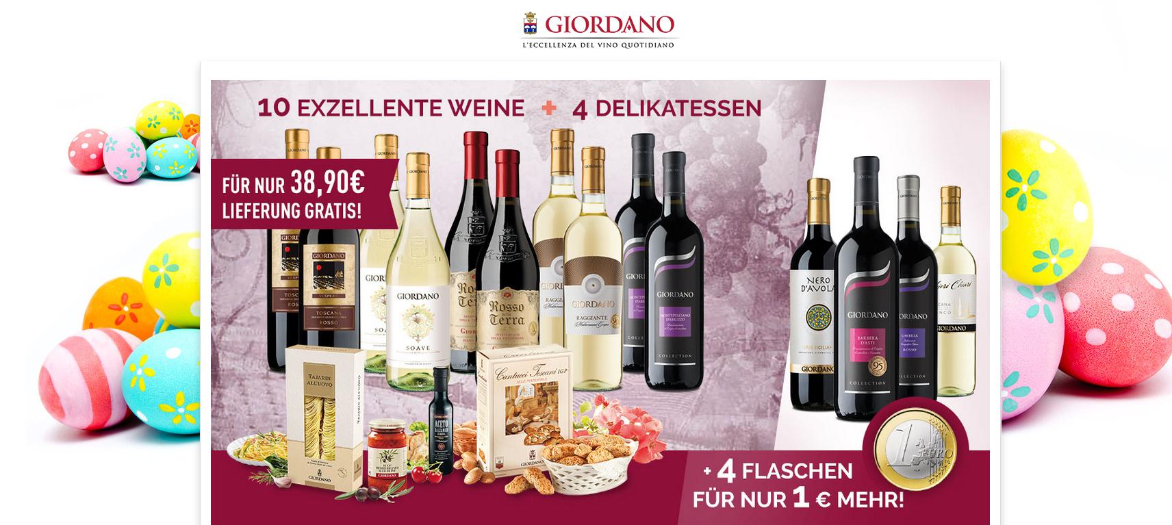 Giordano: 10 italienische Weine + 4 Spezialitäten + 12 teiliges Tellerset für nur 39,90 Euro inkl. Versand