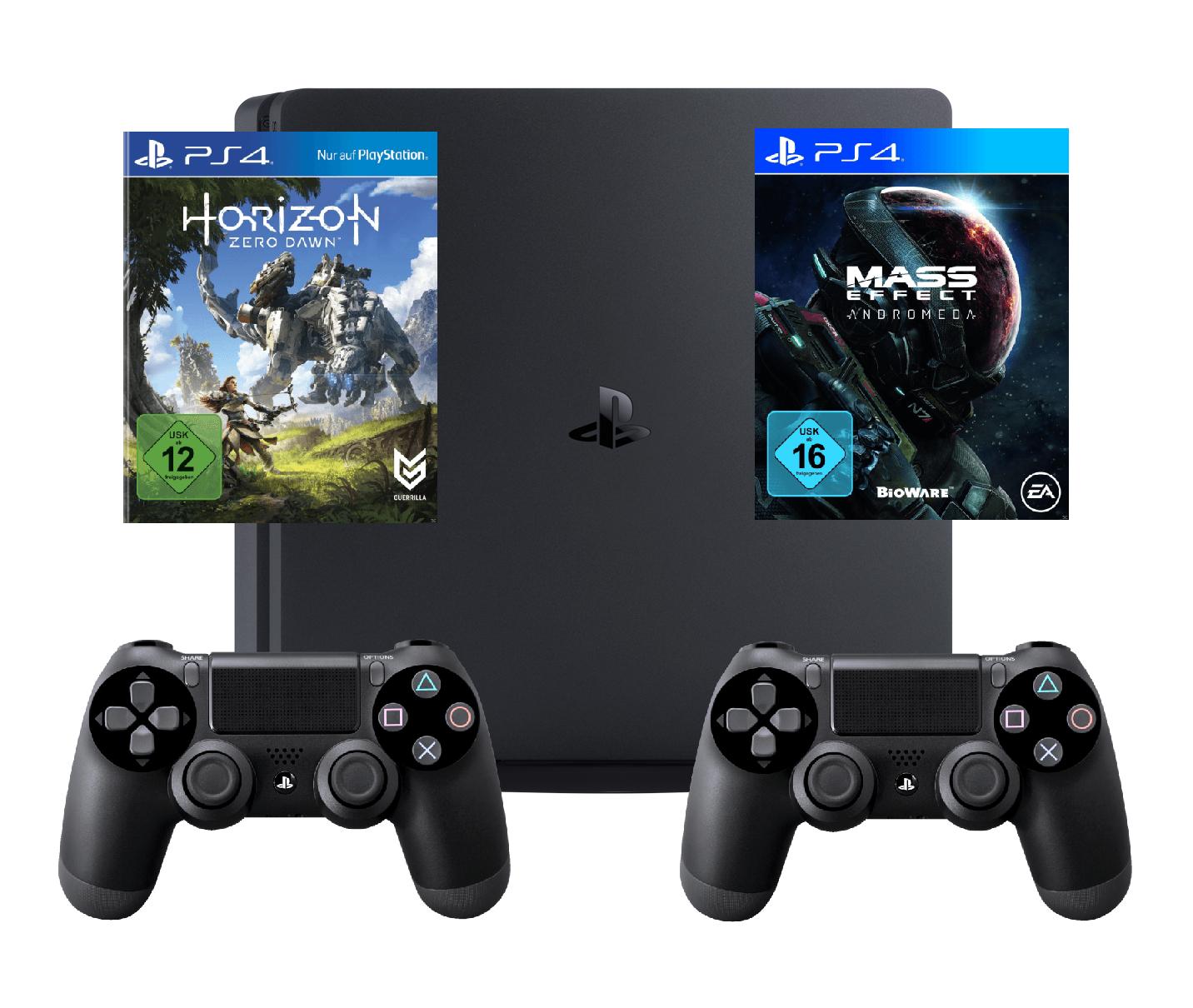 PS4 1TB Slim mit 2 Controllern und Horizon Zero Dawn + Mass Effect Andromeda oder Battlefield 1
